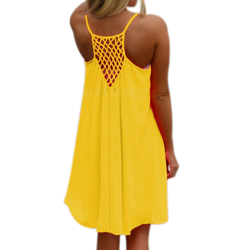 Sexy Women Summer Chiffon Strap Dress Casual Loose Sleeveless Solid Beach Dresses Plus Size 5XL SEC88
