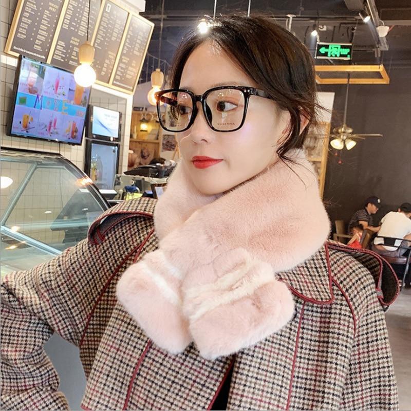 New Fur Scarf Imitation Rabbit Fur Collar Female Autumn And Winter Warm Wild Plush Collar Winter Fur Collar