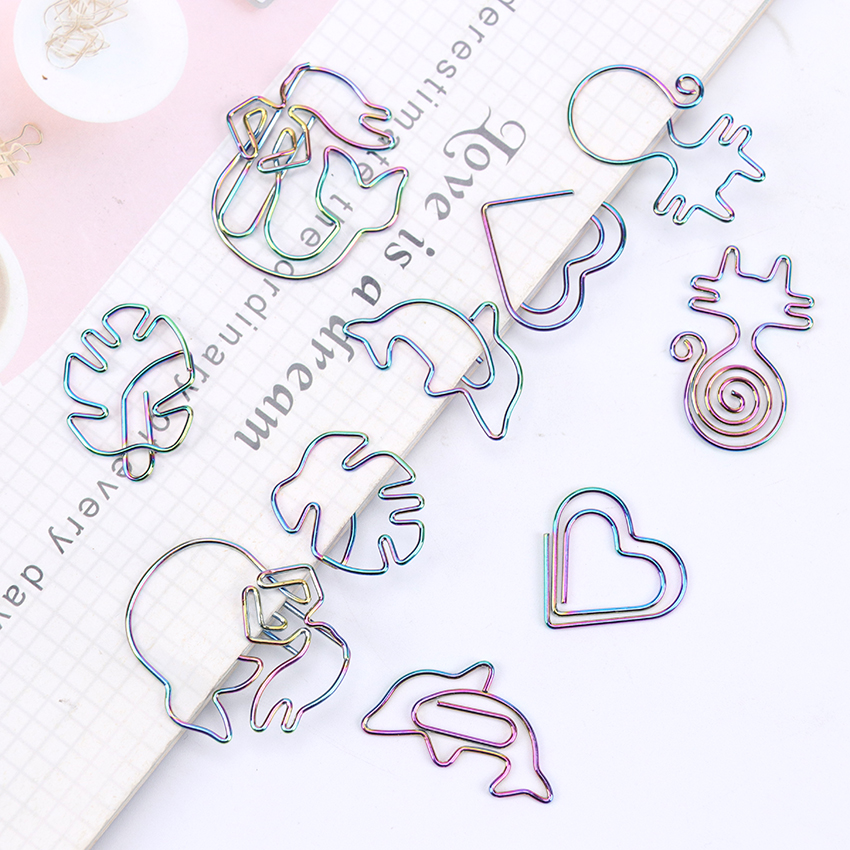 5 PCS Colorful Long Tail Cat Bookmark Planner Paper Clip Metal Material Bookmarks For Book Stationery School Office Supplies