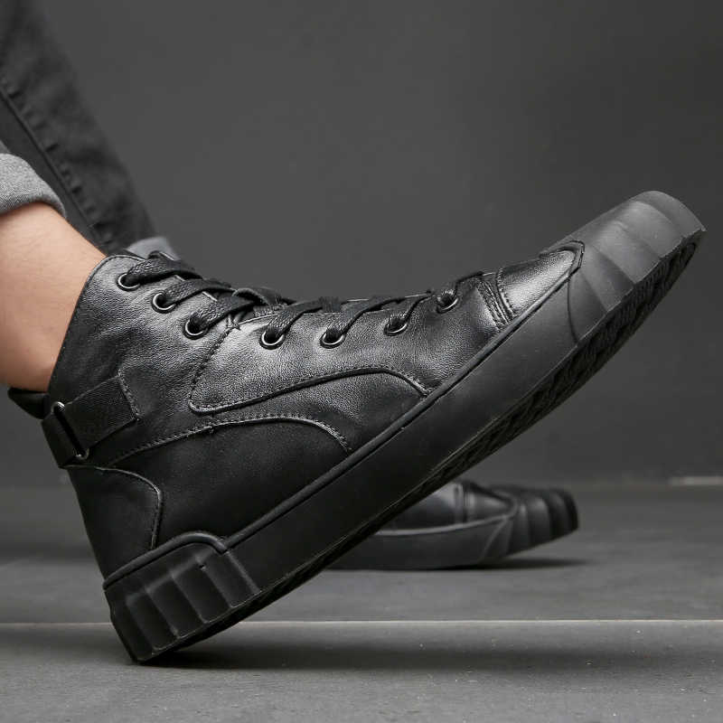 2019 ฤดูใบไม้ร่วงและฤดูหนาวผู้ชายรองเท้าสบายๆ Hip-Hop highloafers ฤดูใบไม้ผลิฤดูใบไม้ร่วงผู้ชายรองเท้าหนังแท้รองเท้าหนังผู้ชายรองเท้า