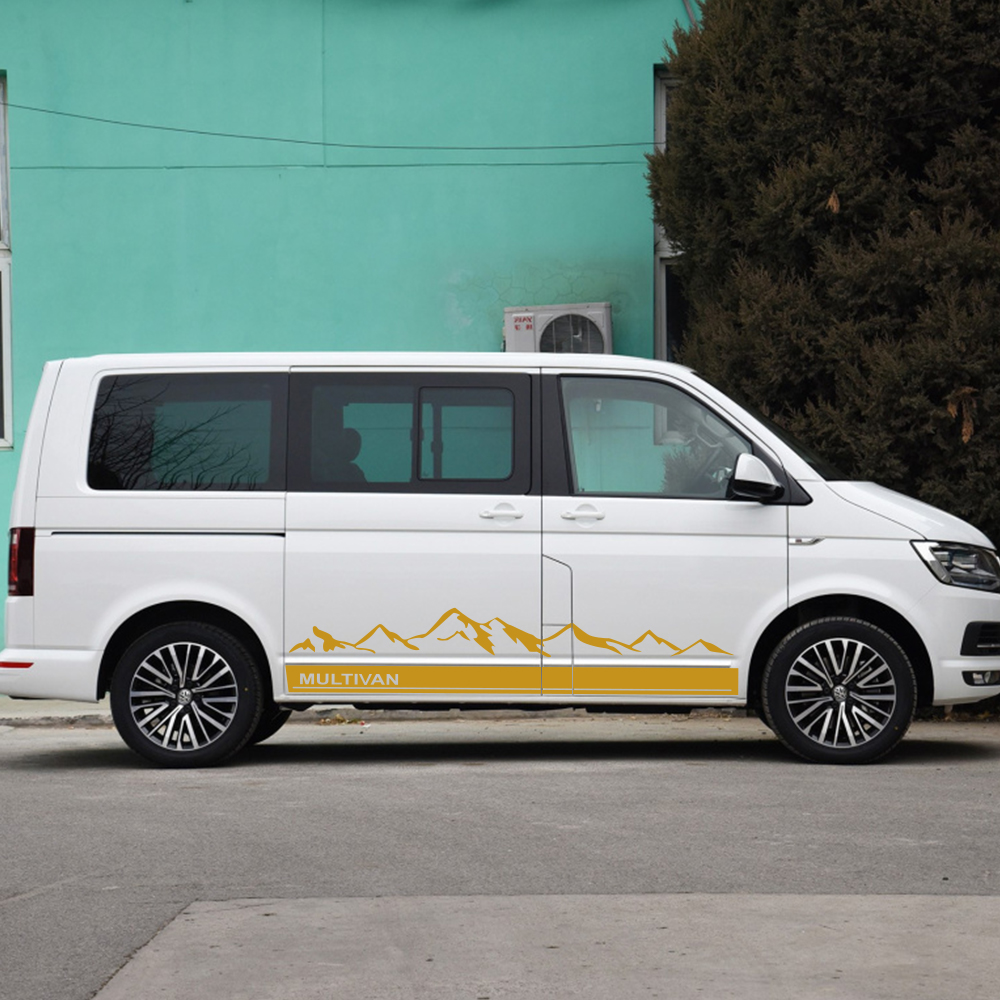 Image 2 - 2Pcs Side Stripes Car Stickers Vinyl Film Auto Mountain Graphics Decals For Volkswagen Multivan Styling Car Tuning Accessories-in Car Stickers from Automobiles & Motorcycles