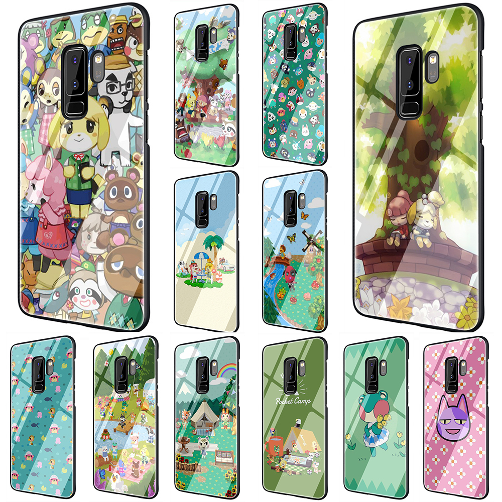 EWAU Animal Crossing Tempered <font><b>Glass</b></font> Phone Cover <font><b>Case</b></font> For <font><b>Samsung</b></font> Galaxy S7 edge S8 9 10 Plus Note 8 9 10 A10 20 30 40 50 60 <font><b>70</b></font> image