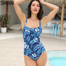SHEKINI Womens Vintage Ruched Backless Floral Printing Swimwear Sexy Summer One Piece Swimsuits Bathing Suits Monokini