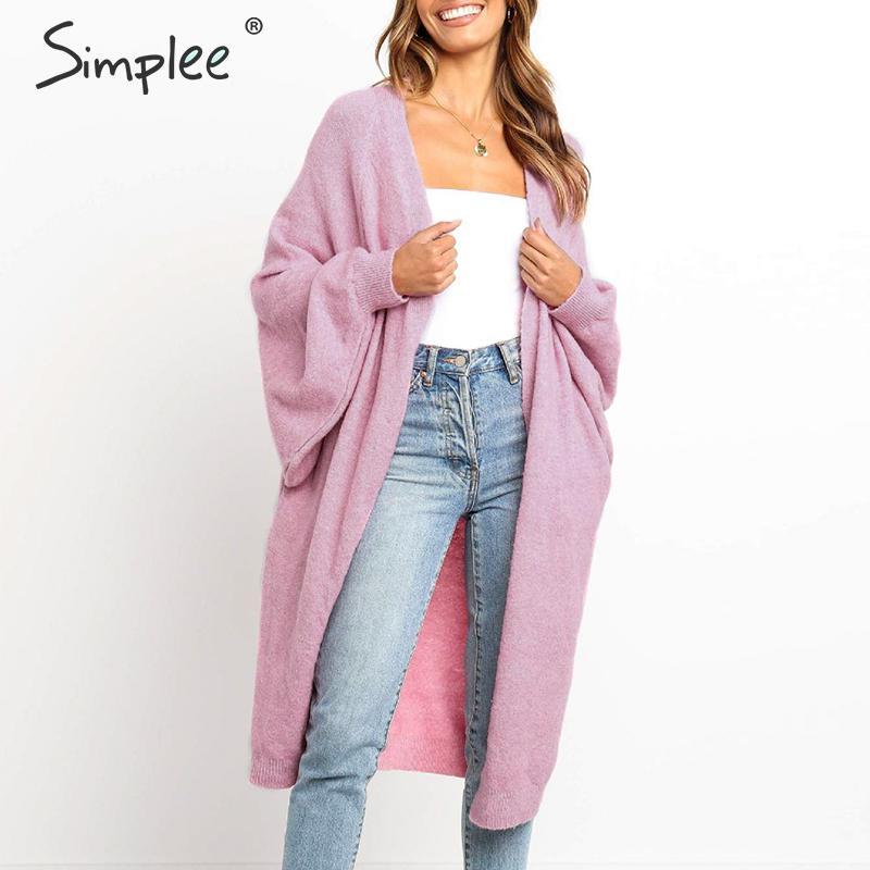Simplee Sweater Cardigan Women Long Sleeve Oversize Autumn Winter Female Cardigan Coat Streetwear Plus Size Ladies Outwear Coat