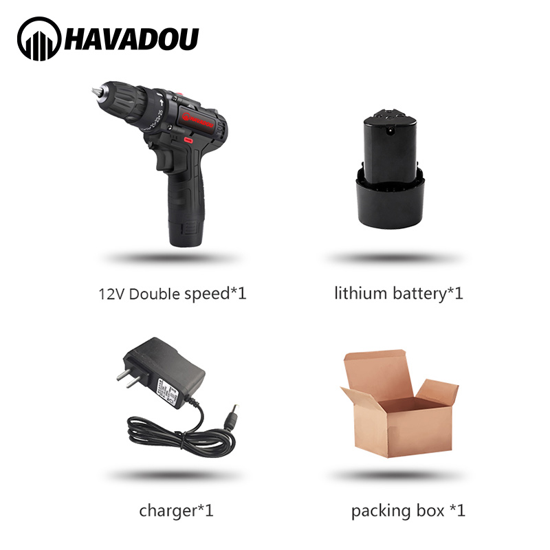 HAVADOU Torque Cordless Impact Electric Drill Screwdriver 12V 2 Speed Mini Power Driver
