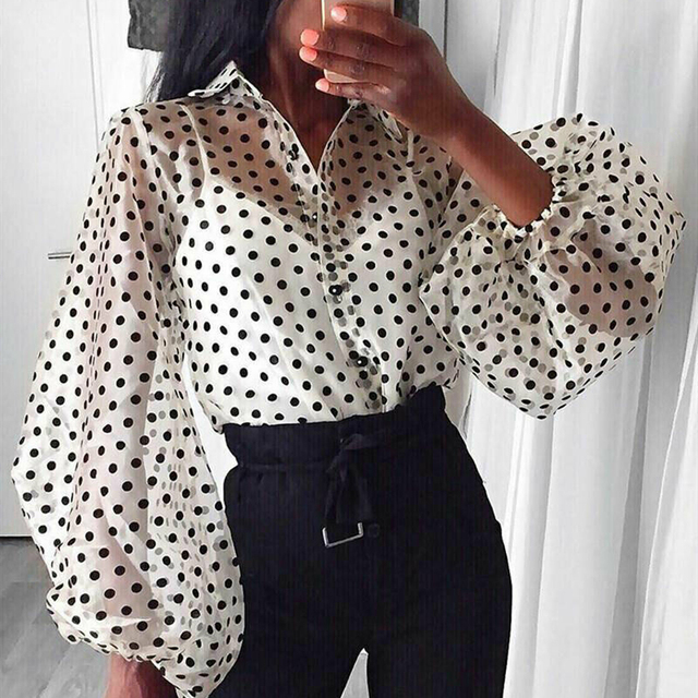 Women Polka Dot Retro Blouse Lady Early Autumn Modern Mesh Shirt Vogue See-through Loose Button  Puff Sleeve Blouse High Street