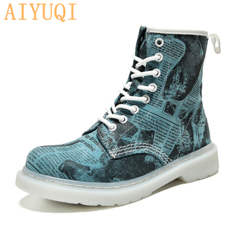 AIYUQI Women fashion ankle Martin boots women genuine leather british style ladies shoes Mixed colors wholesale purchase shiningthrough fashion handmade boots for women genuine leather ankle shoes vintage mom women shoes round toes martin boots