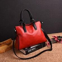 Yonder Women genuine leather handbag vintage shoulder bag female designer top handle hand bags ladies messenger bags Black/Red