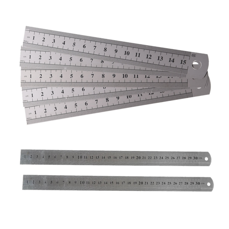 5 Pcs Dual Side Marked 15cm 6 Inch Stainless Steel Straight Ruler & 2 Metric 30cm Measuring T
