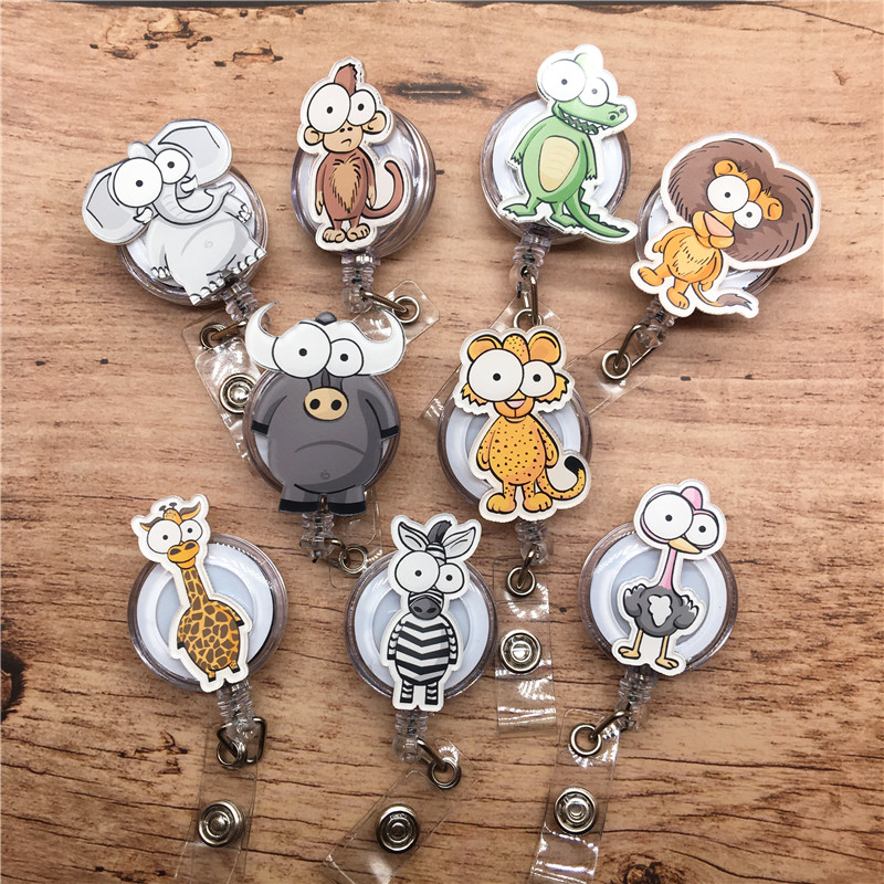 Cute Cartoon Animal zebra giraffe Retractable Badge Holder Reel Exhibition ID Enfermera Name Hospital Office Chest Card