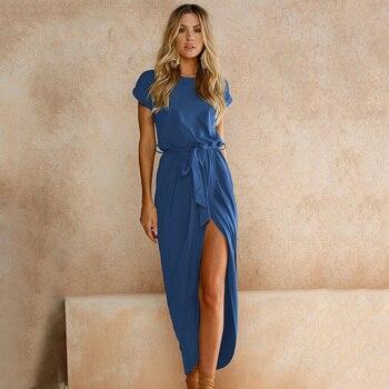 O Neck z krótkim rękawem niebieska sukienka asymetryczna lato kobiet Plus rozmiar XS-3XL wysoki podział seksowne długie suknie elegancka tunika Vestido Mujer
