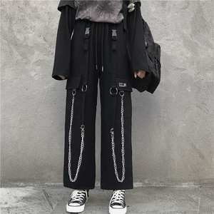 Cargo-Pants Chain Harem-Trousers Elastic Loose Punk Vintage Men Streetwear Black Baggy