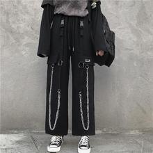 Black Cargo Pants Men Streetwear Hip hop Pants With Chain Loose Baggy Vintage Punk Harem Trousers Elastic waist