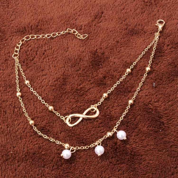أزياء 2 اللون إنفينيتي الحب خلخال سوار الكاحل مجوهرات صنادل بيرفوت الخرز الساق تشاين على القدم الخلخال للنساء مجوهرات