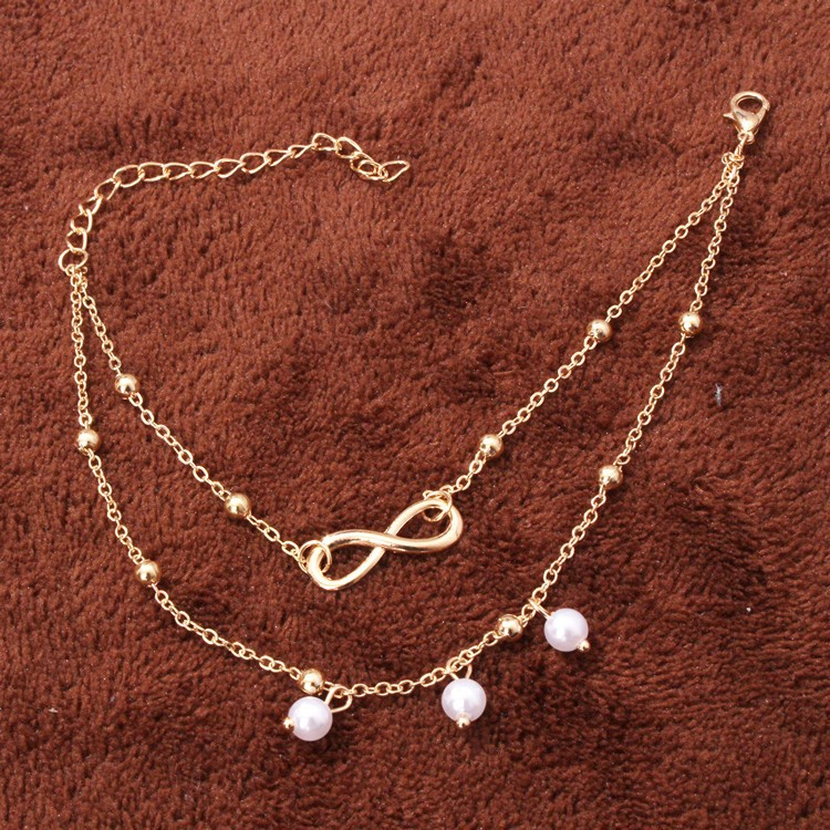 Fashion2 color Infinity Love Anklet Ankle Bracelet Jewelry Barefoot Sandals Beads Leg Chaine on Foot Anklets for Women Jewelry