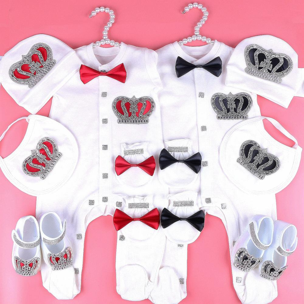 Personalise Baby Girl Newborn Crown Romper  gift Set 3 piece Bow Romper Set