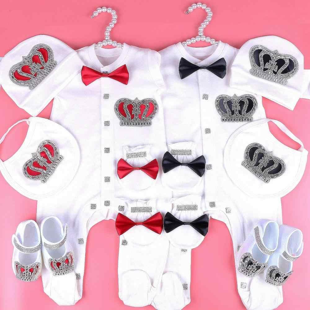 0-6 miesięcy body zestaw ubranek dla dziewczynki rhinestone korona romper ropa bebe verano noworodka kombinezon piżamy strój prezent 2020