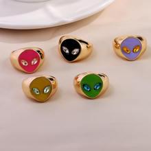 Anillos de Metal con cara de Alien para mujer, anillos de dedo Multicolor de cristal, redondo geométrico, joyería Punk, el mejor regalo, 2021