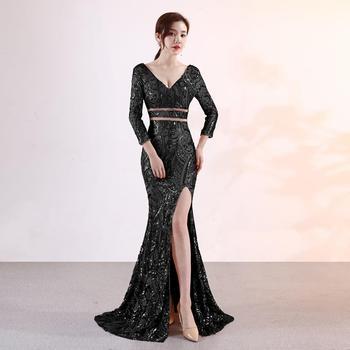 Sexy evening dress female vestido new high-end banquet Dress noble elegant ladies temperament long black slimming  Long skirt