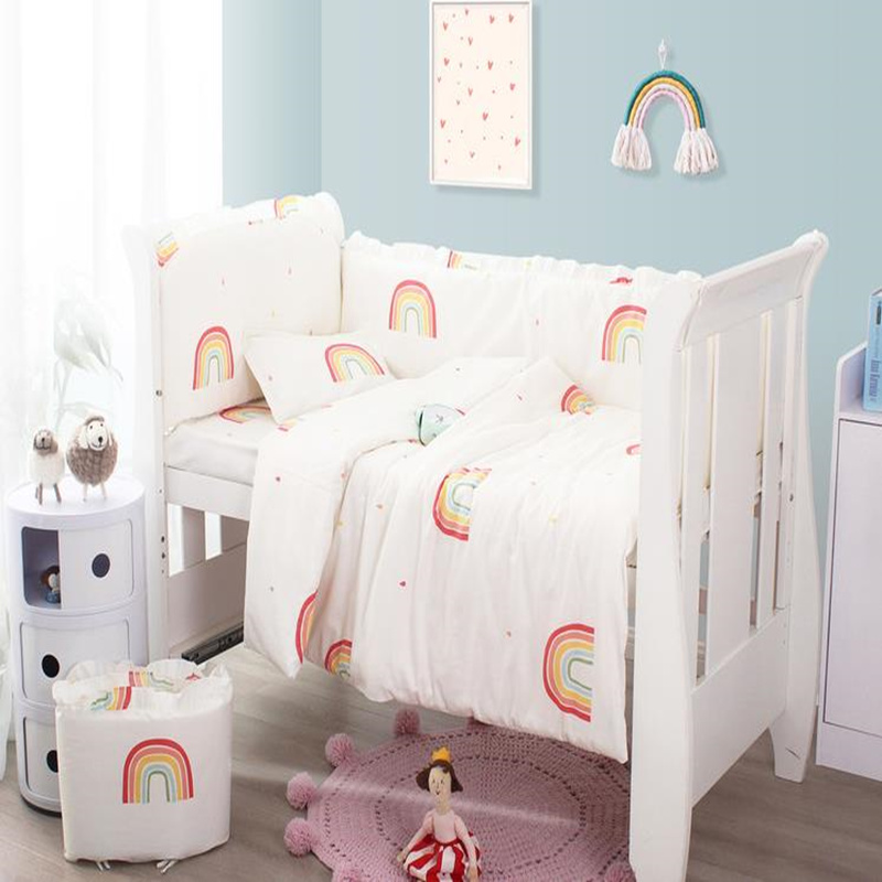 Baby Bedding Bumper Crib Bedding Set Rainbow Cotton Baby Bed Linens Baby Cot Bumpers Duvet Cover Newborn Bed Sheet Pillowcase