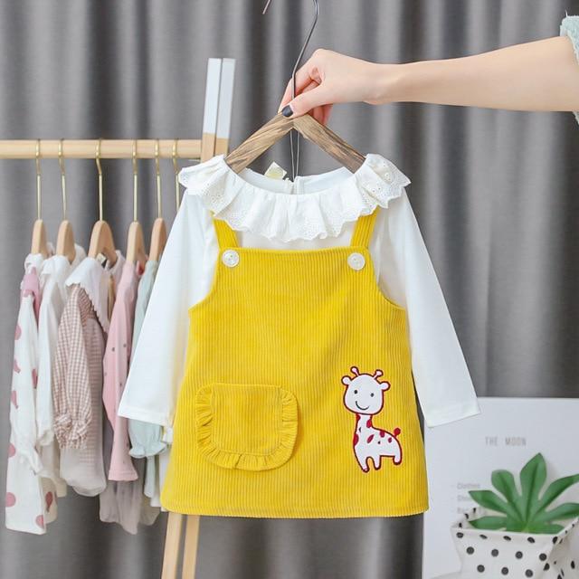 Dorywczo noworodka sukienka niemowlę dziecko ubrania dziewczyna odzież kreskówka sukienka księżniczki z długim rękawem wiosna jesień dziewczyny sukienki 3 M-2 T