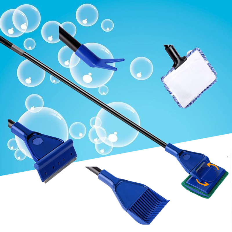 5 In 1 Aquarium Cleaning Tools Quality Net Fish Gravel Rake Algae Scraper Sponge Fork Brush Glass Cleaning Tool