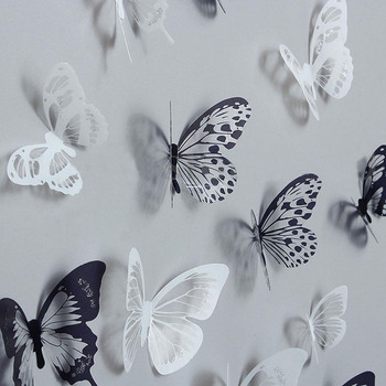 36pcs 3D Crystal Butterfly Wall Stickers Creative Butterflies with Diamond Home Decor Kids Room Decoration Art Decals - discount item  38% OFF Home Decor