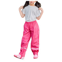 Dziecięce spodnie przeciwdeszczowe chłopięce spodnie przeciwdeszczowe Pu wodoodporne spodnie sportowe Outdoor wiatroszczelne spodnie przeciwdeszczowe dla dzieci legginsy D18 tanie tanio CN (pochodzenie) Odporna na deszcz spodnie Unisex Outdoor Travel Fashion Adult Raincoat RainWear Jednoosobowy odzież przeciwdeszczowa