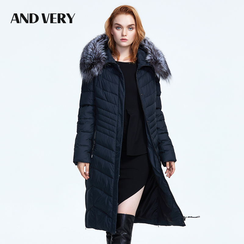 ANDVERY 2019 Winter new collection with a fur collar high quality hooded thick cotton warm   parka   winter for women 8303