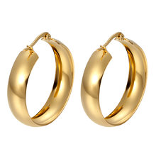 Trendy Big Hoop Earrings For Women Stainless Steel Simple Earrings 2019 Gold/Silver Round Fashion Jewelry Wholesale Wedding Gift(China)