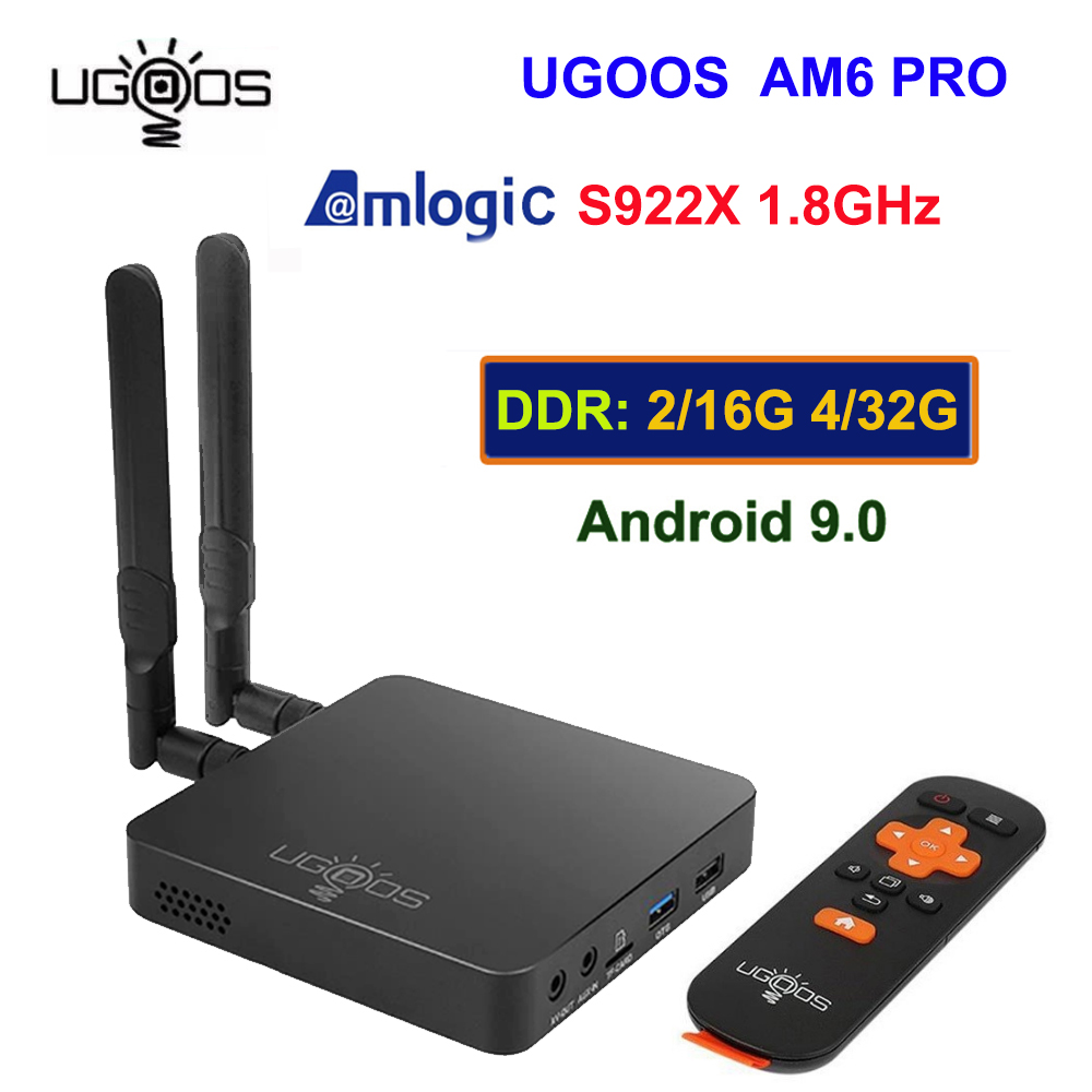 UGOOS AM6 Pro Android TV Box 9.0 Amlogic S922X 4GB / 32GB 2.4G 5G double WiFi BT 5.0 4K HD lecteur multimédia voix à distance