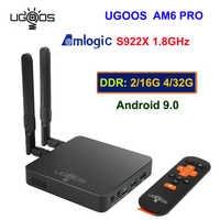 UGOOS AM6 Pro caja de TV Android 9,0 Amlogic S922X 4 GB/32 GB 2,4G 5G Dual WiFi BT 5,0 4K HD Media Player control remoto por voz