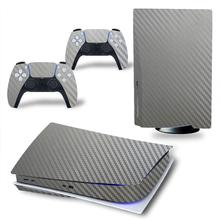 Carbon Material For PS5 Disk Viny Decal Sticker Console + 2 Controller Skin Sticker For Sony Playstation 5 Game Accessories