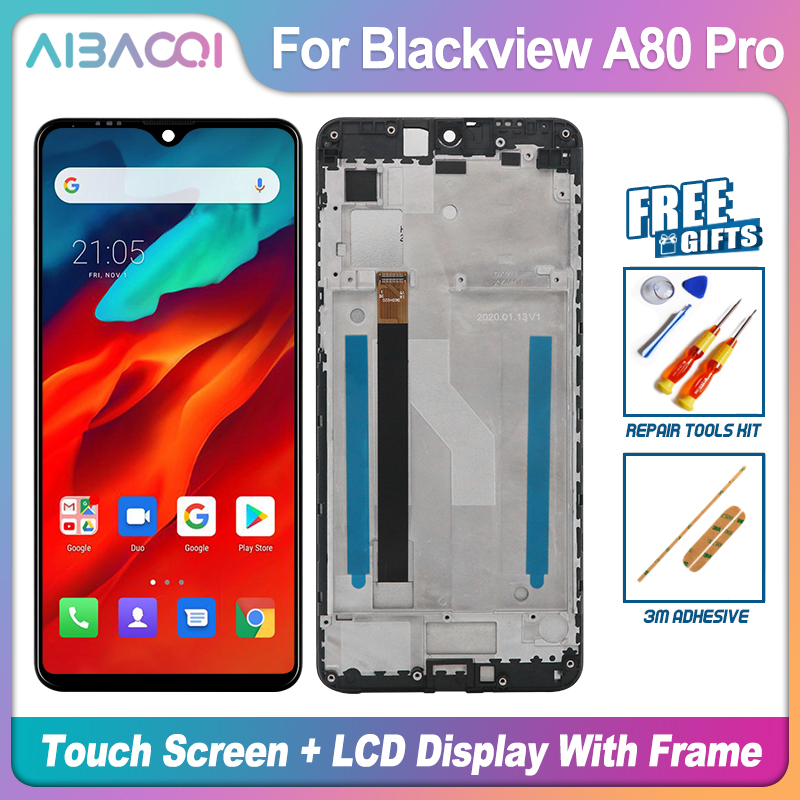 Новый оригинальный 6,49 дюймовый сенсорный экран + 1560x720 ЖК-дисплей + рамка в сборе для замены для телефона Blackview A80 Pro Android 9,0/10,0