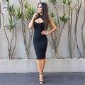 Vestido ajustado Sexy a la moda de fiesta de celebridad negro rojo hasta la rodilla de rayón