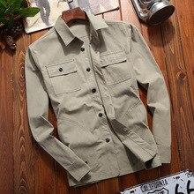 Autumn Solid Color Men Long Sleeve Shirt Multi-Pocket Mens Shirts Black Gray Green M-4XL Men Long Sleeve Shirt цены