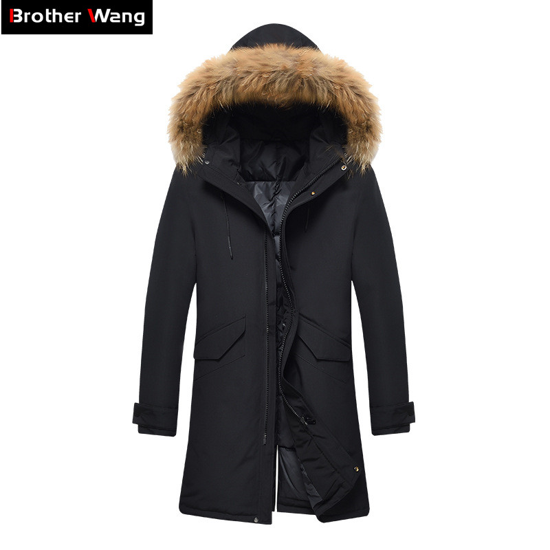 2019 Winter New Real Fur Collar   Down   Jacket Men Fashion Casual Thick Warm White Duck   Down   Jackets and   Coats   Mens Clothing