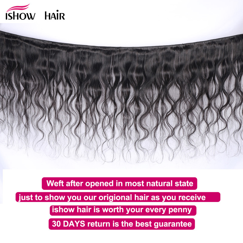 Image 2 - Ishow Indian Body Wave Human Hair 4 Bundles Hair Weaving 400g Natural Color 8 28inch Non Remy 100%  Human Hair Extensions-in 3/4 Bundles from Hair Extensions & Wigs