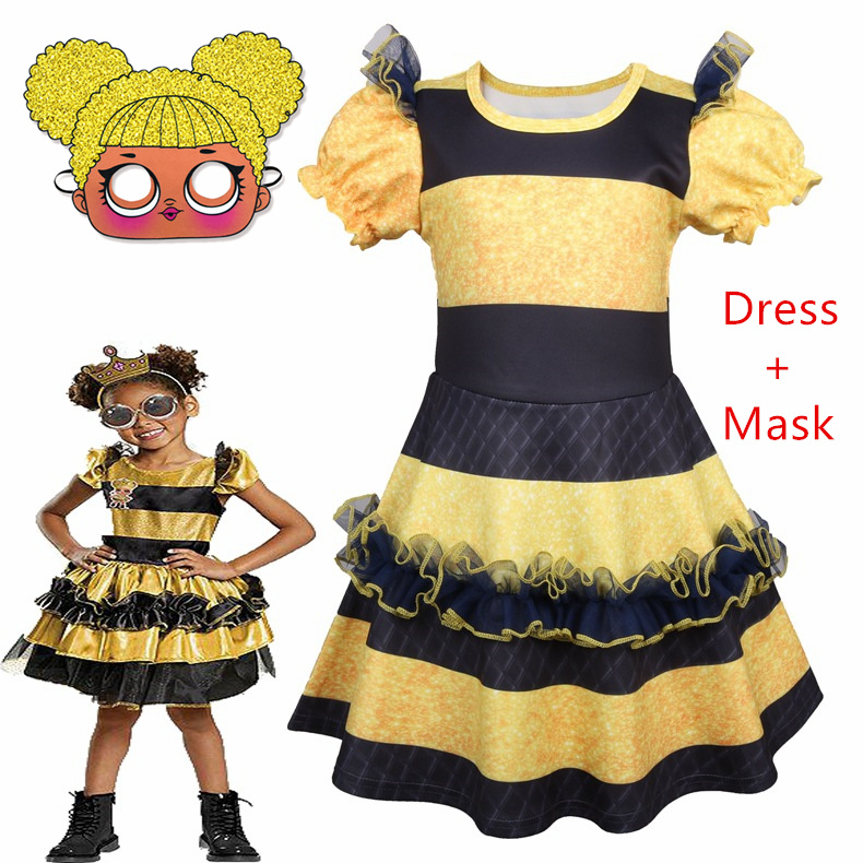 Boys Girls L.O.L Surprise Queen Bee Doll Party Fancy Dress Costume Outfit Mask