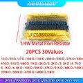 600 шт. 1/4W 1% 20 шт. 30 значений металлического пленочного резистора Ассортимент Комплект упаковка электронная diy комплект, резистор