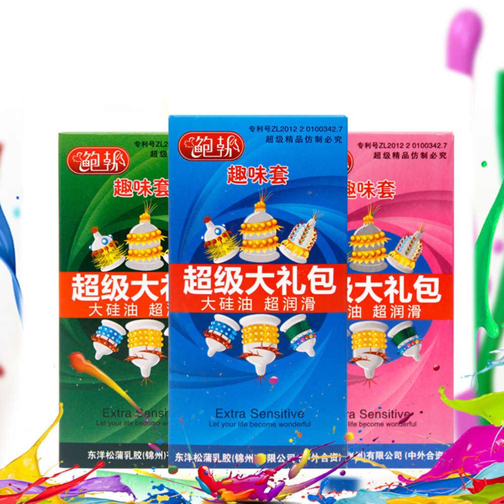 6 Pcs/Kotak Penis Kontol Ekstensi Kondom Penis Lengan Pembesaran Kondom untuk Pria Pria Lebih Aman Kontrasepsi Cover Dewasa Mainan Seks