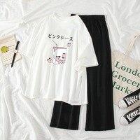 Pijamas Kawaii para mujer, ropa de dormir con estampado de corazón, Tops + Pantalones, camisón para el hogar