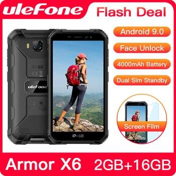 Перейти на Алиэкспресс и купить Ulefone Armor X6 IP68 водонепроницаемый прочный смартфон 2 ГБ + 16 ГБ Android 9,0 4000 мАч Face ID 8MP мобильный телефон на открытом воздухе 3G мобильный телефон