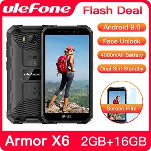 Ulefone Armor X6 IP68 водонепроницаемый прочный смартфон 2 ГБ + 16 ГБ Android 9,0 4000 мАч Face ID 8MP мобильный телефон на открытом воздухе 3G мобильный телефон