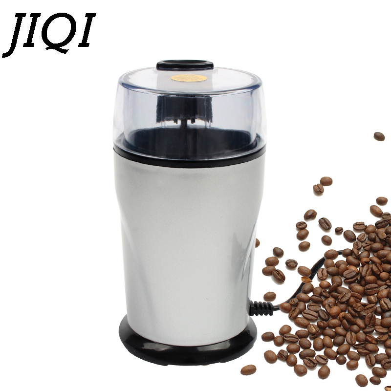 JIQI Electric Coffee Grinder Mill Herbs Nuts Cafe Coffee Bean Grinding Machine Powder Crusher Stainless Steel Burr Blade EU Plug