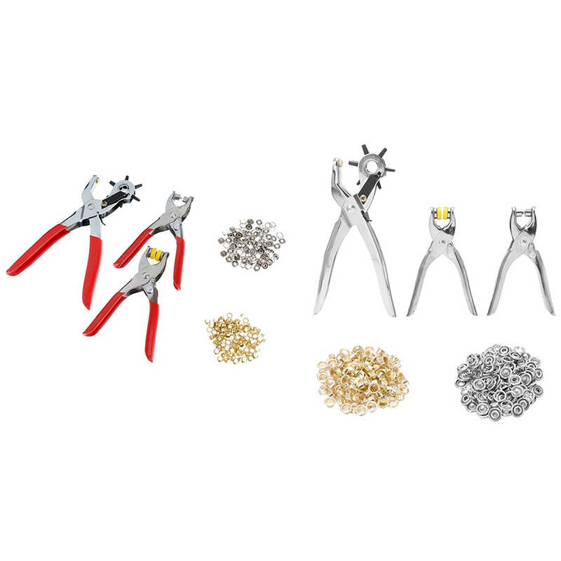 128 pièces/ensemble en cuir perforateur outil de réparation oeillets œillets + Kit de pinces nouveau (rouge + argent)