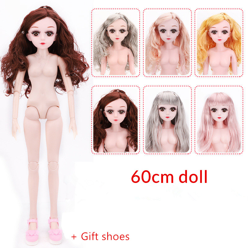 New Arrival Xiner 17 Joint Moveable 60cm BJD Dolls Toys With 3D Eyes DIY Naked Nude Head Doll Body Bjd Dolls Toy For Girls Gift