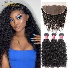 Nadula毛ブラジル縮毛前頭前頭閉鎖 100% 人間の髪のバンドル 8 26 インチのremy毛織り