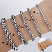 3 4 6 8 10 mm Mens Stainless Steel Bracelet Link Chain Wheat Braided Link Gold Silver Color  Bracelet Wholesale Dropship LKB499