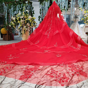 Image 3 - HTL834 muslim wedding gowns long sleeves beading appliques o neck red wedding dress with bridal veil ball gown vestido festa